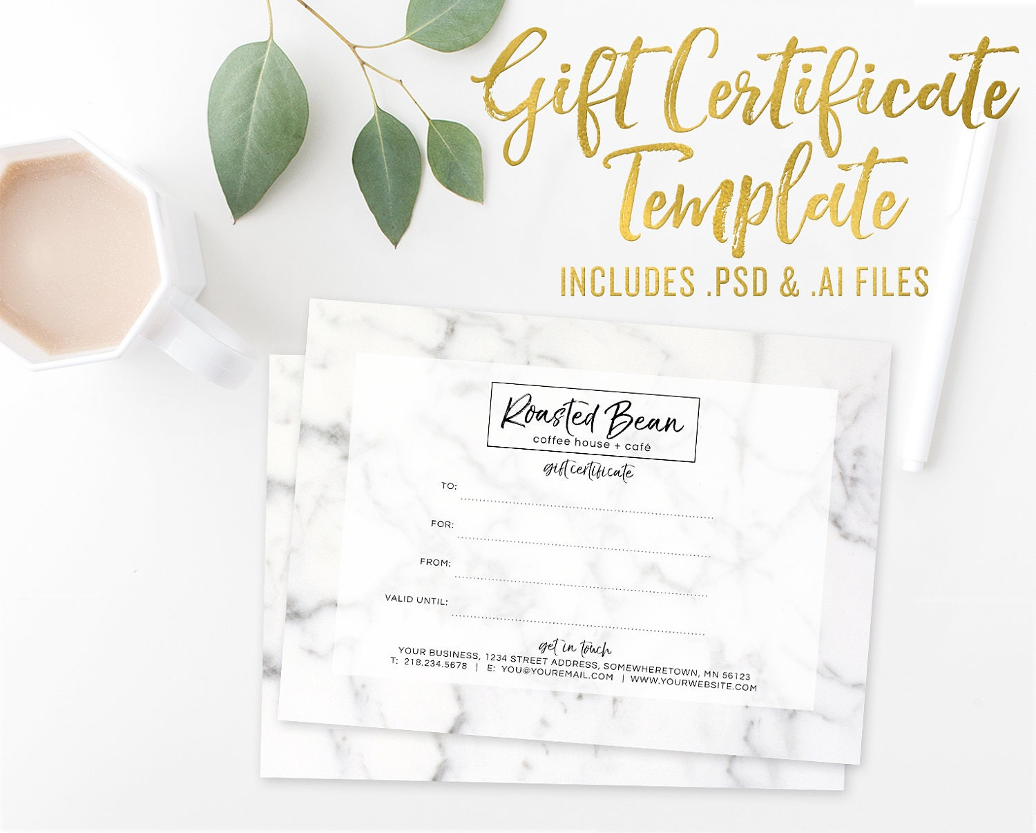 Marble Gift Certificate Card Template Photoshop Template