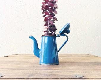 Vintage Mini Blue Enamel Coffee Pot // Kitchenwares