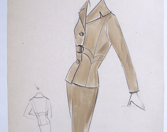 Original 1950s Fashion Illustration Drawing Signed