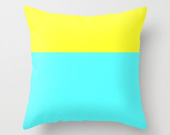 Turquoise Pillow Cover -  Colorblock Pillow Cover - Yellow Pillow Cover - Colorblocking Pillow Cover -  Modern Pillow Cover -  Gift for Her