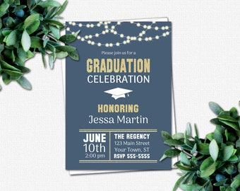 Deep Water Graduation Invitation - PRINTABLE High School or College Graduation Party Invitations   Rustic Lights blue gold glitter country