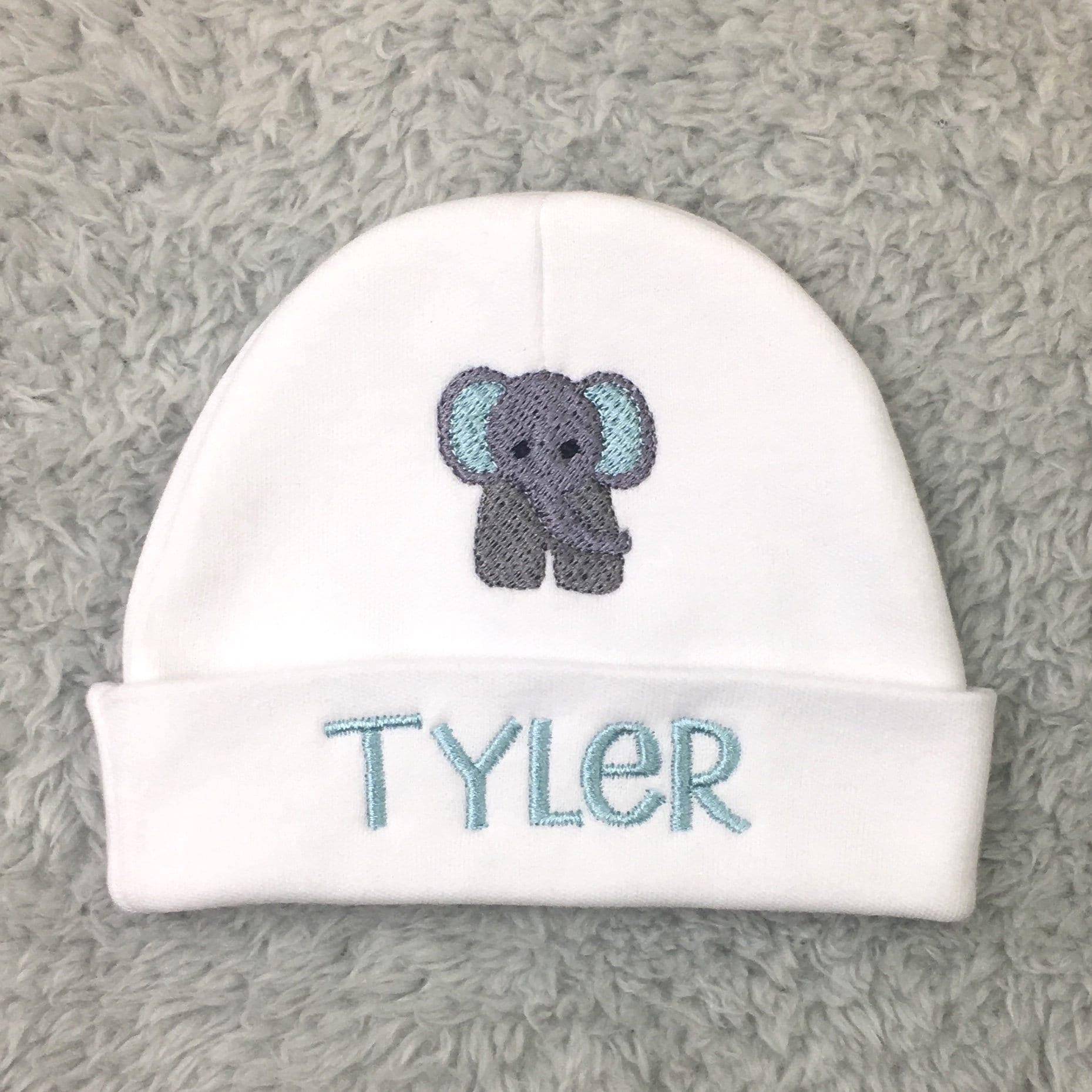 Personalized newborn hat with elephant preemie hat micro preemie
