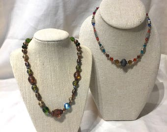 Glimmering Earth Toned Beaded Necklace Duo with Browns, Blues and Greens on Sale