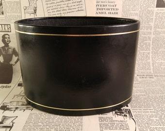 Mid Century Letter Holder. Black and Gold Embossed Cowhide Leather Desk Accessory. Vintage Office Decor. Gift For Him. Black Bill Holder.