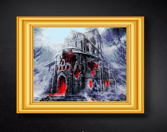 """Gothic cathedral cross stitch pattern, Gothic ruins, Blood cathedral, Victorian Gothic architecture, PDF download. 20""""x16""""."""