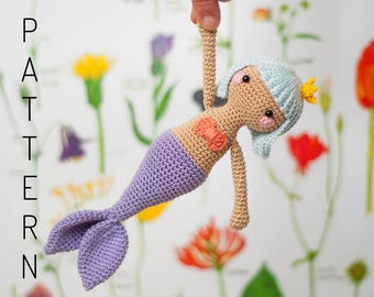 Crochet amigurumi kawaii mermaid sirena doll pattern chart