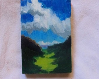 """Abstract landscape - original oil painting - """"Here the Highlands"""""""