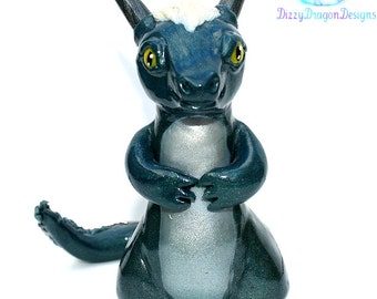 Green and silver shimmer dragon sculpture, fantasy creature, polymer clay, handmade