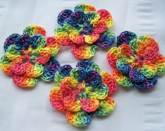 Appliques hand crocheted flowers embellishment set of 4 in rainbow cotton 1.5 inch