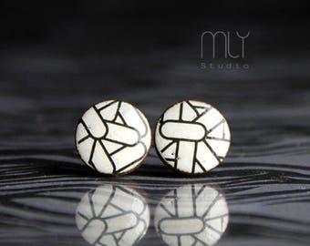 Pills - round ceramic stud earrings