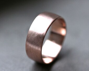 Wide Rose Gold Men's Wedding Band, Recycled 14k Rose Gold 8mm Brushed Low Dome Man's Gold Eco Wedding Ring -  Made in Your Size