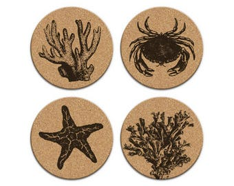 CORAL STARFISH CRAB Nautical Coastal Cork Coaster Set Of 4 Home Decor Barware Decoration
