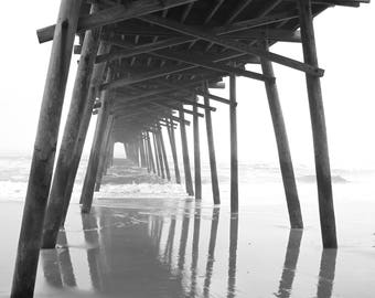 Ocean Fog Art Print, Photography Black and White Gray North Carolina Pier Landscape Coastal Art Nautical Art Wall Decor Wall Art