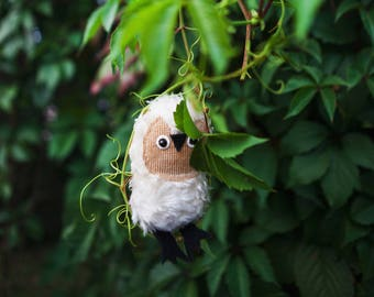 Crupitsik   Little  tiny owlet, soft art  toy owl doll creature  by Wassupbrothers.pocket companion, buho, MADE TO ORDER