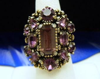 Vintage Hollycraft Adjustable Rhinestone Ring Purple Gold Tone