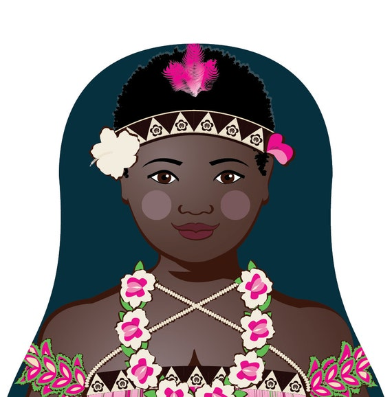 Bougainvillean Doll Art Print with traditional dress, matryoshka