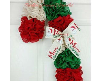 Ready to ship, Candy Cane Wreath, Christmas Wreath, Candy Cane Door Hanger, Front Door Decor Christmas Decor Gifts under 50