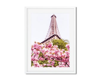 Fine Art Photography of  Cherry blossoms under the Eiffel Tower - Canvas Print of Paris - France - Wall Decoration - Travel