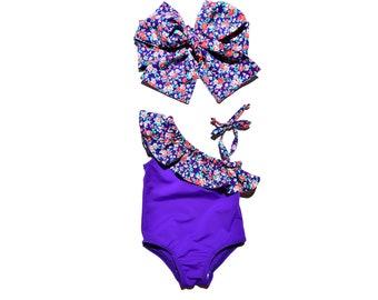 Baby girl vintage purple romper   Ruffles sunsuit   One piece swim suit   Girls vintage bathing suit   Playsuit baby girl   Swimsuit ruffles