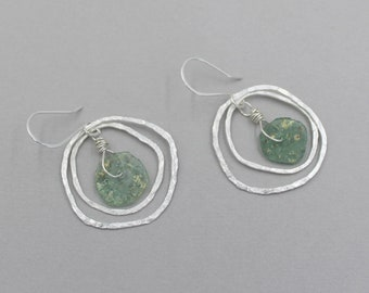 Colorful Bohemian Ancient Roman Glass Earrings, Hammered Organic Fine Silver Hoops, Silver Hoop Drop Earrings, Multi Hoop Earrings, Green
