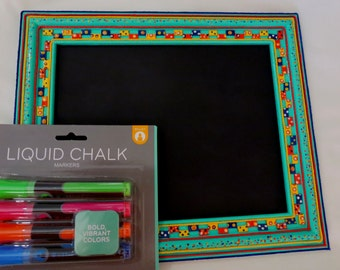 Chalkboard Recycled Mixed Media Aqua Green Frame