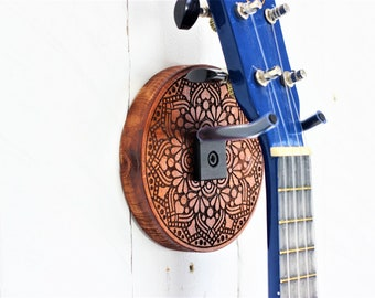 Ukulele Wall Mount. Etched wood flower manadala with hand forged steel holder wall hanger