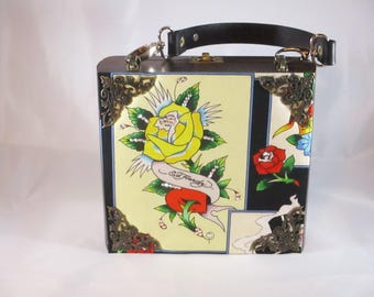 Ed Hardy Day of the Dead, Tatoo Artist, Cigar Box Purse, Roses, Box Purse, Handbag, Unique Purse, Upcycled Volcan Cigar Box Item 1091