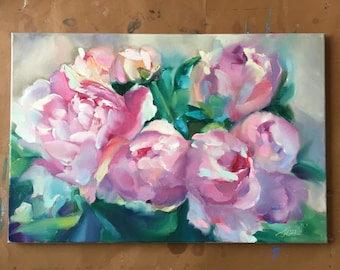 """Oil Painting, Pink Peony, art, abstract art, wall art, canvas painting, art painting, painting canvas, abstract painting, flower art 16""""x24"""""""