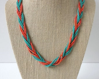 Teal and orange necklace, seed bead necklace, braided necklace, orange necklace, beaded necklace, turquoise necklace, seed bead jewelry,gift