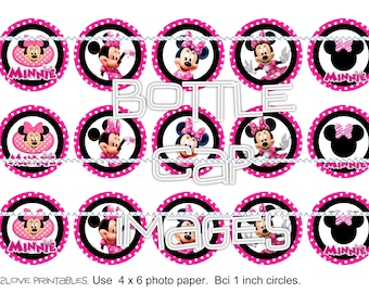 """Pink/Black Polka  Minnie Mouse 4x6 printables - 1"""" circles, bottle cap images, stickers"""