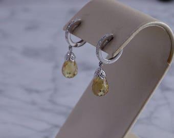 14K Citrine Briolette Yellow Gold Earrings (pierced)