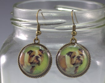 Brown White Bulldog Earrings Dog Puppy Pet 3D Dimensional Jewelry