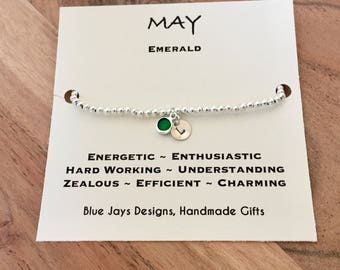 May Birthstone, Emerald, Bracelet, Gifts for Sister, Gift for Aunt, Taurus Birthstone, Unique Gift, Custom Jewellery, St Patricks Day