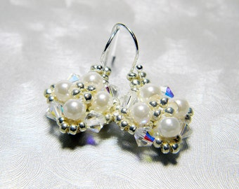 "Cream Glass Pearl and Swarovski Crystal AB Earrings Silver Seed Beads Beadweaving Sterling Silver - ""Audrey"""