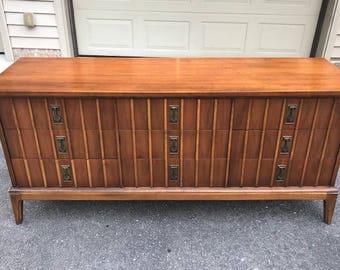 Mid -Century Modern Walnut Double Dresser