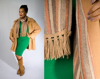 Vintage 70's BETTY ROSE Tan Camel Midi Wool Plus Size Pea Coat with Matching Scarf (sz 16 18 20 XL xxl)