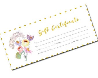 Spring Gift Certificate, Gift Certificate Printable, Gift Certificate, Gift Certificate Download,mother gift,Printable Gift,Floral, Garden