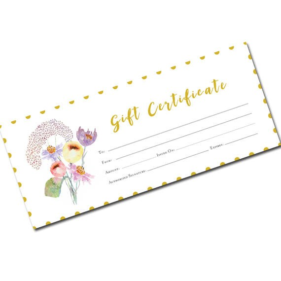 Spring gift certificate floral blank gift certificate gift spring gift certificate floral blank gift certificate gift certificate template printable blank gift certificate garden yadclub Image collections