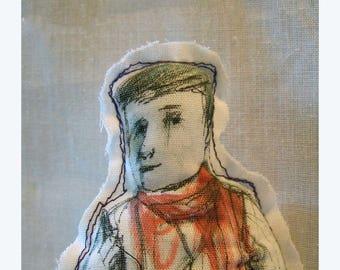 Art textile fabric Doll man boy SALE  realistic drawing people handmade hand painted original design