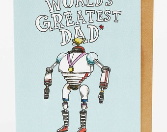 Dad card, Father's day card, Funny father's day card, Dad birthday card, Funny dad birthday card, 'World's Greatest', hand drawn, handmade