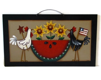 Primitive Chicken, Sunflower, Watermelon Wall Art, Handpainted Wood Sign, Hand Painted Americana Prim Decor, Tole Decorative Painting
