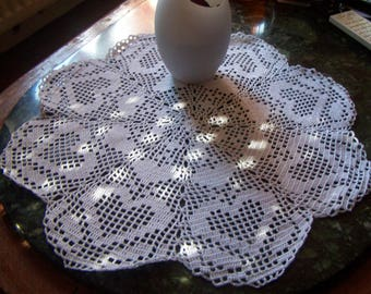 white cotton doily crochet table decoration
