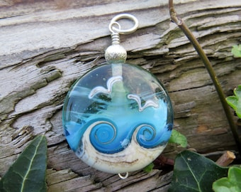 """Large pendant """"BEACH-FANTASY X"""" - hand-crafted lampwork bead, sterling silver - one of a kind!"""