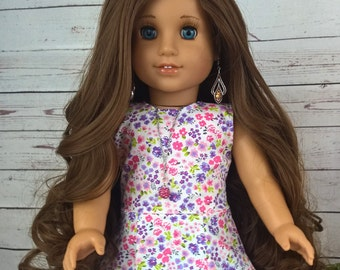 """Custom 10-11"""" Doll Wig Fits Most 18"""" Dolls """"Coffee Filigree""""- Heat Safe"""