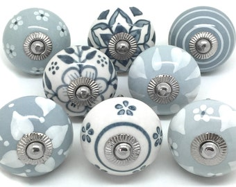Set of 8 Ceramic Door Knobs Designed By & Exclusive to These Please - Grey and White Mix for Cupboard Doors and Drawers S8-16