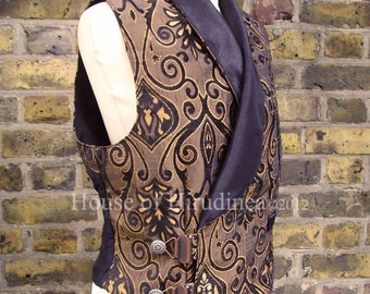 Mens Steampunk Vest, Brocade Double Breasted Waistcoat, Victorian Wedding