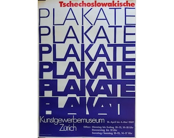 Rare Vintage Art Swiss Museum Poster, 1960s Mid Century Modern Typography Frameable Wall Art
