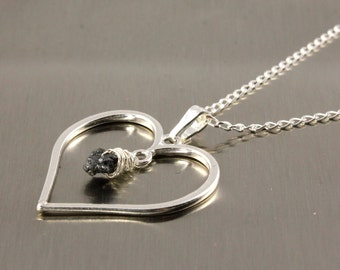 Heart Necklace with Raw Rough Diamond - Sterling Silver Heart Charm - Romantic, Valentine's Gift For Her