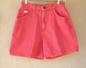 High waisted denim shorts / LEE stone washed red shorts / high waist shorts, denim shorts womens 4 6, 28 waist