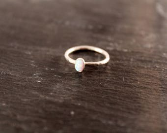 Opal Thick Oval Gemstone Stacking Ring (Sterling Silver Hammered Ring Gifts for her Under 50 October Birthstone)